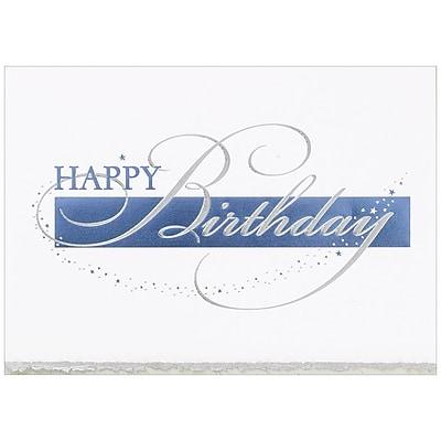 JAM Paper® Blank Birthday Cards Set, Happy Birthday Deckle Edge, 25/pack (526BG769WB)