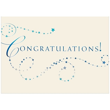 JAM Paper® Blank Congratulations Cards Set, Blue Stars, 25/Pack (526BG773WB)