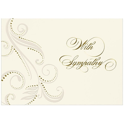 JAM Paper® Blank Sympathy Card Set, Damask With Sympathy, 25/pack (526BG775WB)