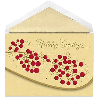 JAM Paper® Christmas Holiday Cards Set, Holiday Berries, 12/Pack (526E1256MB)