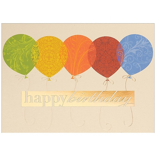 JAM PaperR Blank Birthday Cards Set Happy Balloons 25 Pack 526M0147WB