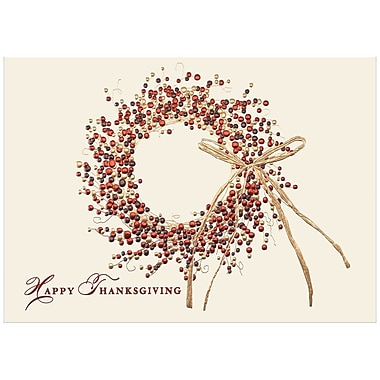 JAM Paper® Blank Thanksgiving Card Set, Happy Thanksgiving Wreath, 25/Pack (526M0217B)