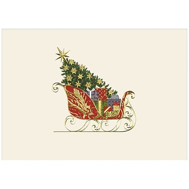 JAM Paper® Blank Christmas Holiday Cards Set, Elegant Sleigh, 25/Pack (526M0272WB)