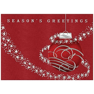 JAM Paper® Christmas Holiday Cards Set, Red Ornament with Silver Stars, 25/Pack (526M0390WB)
