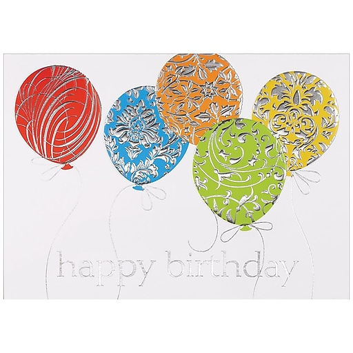JAM PaperR Blank Birthday Cards Set Balloons 25 Pack 526M0424WB