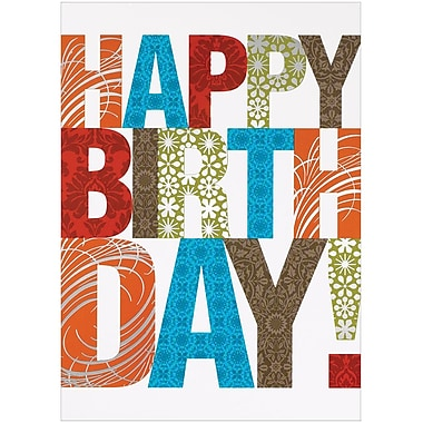 JAM Paper® Blank Birthday Cards Set, Happy Birthday Contemporary, 25/Pack (526M0426WB)