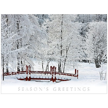 JAM Paper® Blank Christmas Holiday Cards Set, Snow Covered Bridges, 25/pack (526M0527B)