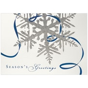 JAM Paper® Christmas Holiday Cards Set, Silver Snowflake Seasons Greetings, 25/pack (526M0543B)