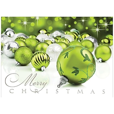 JAM Paper® Christmas Holiday Cards Set, Merry Christmas Ornaments, 25/Pack (526M0545B)