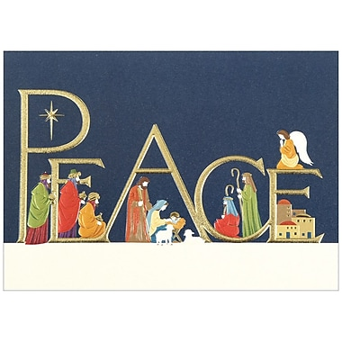 JAM Paper® Christmas Holiday Cards Set, Peace Nativity, 25/Pack (526M0566B)