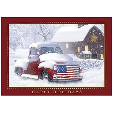 JAM Paper® Christmas Holiday Cards Set, Holiday Americana, 25/Pack (526M0635WB)