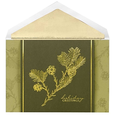 JAM Paper® Christmas Holiday Cards Set, Golden Pinecones, 12/Pack (526M0752MB)