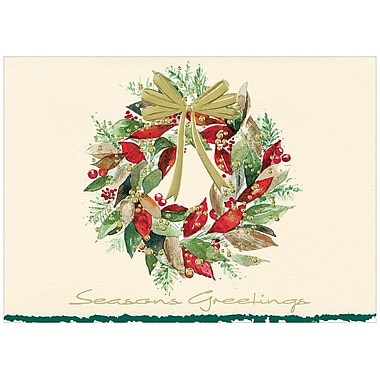JAM Paper® Blank Christmas Holiday Cards Set, Christmas Leaves Wreath, 25/Pack (526M0805WB)