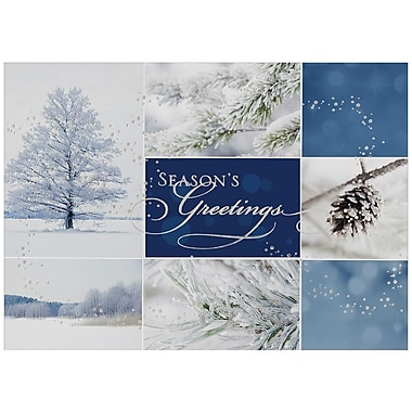 JAM Paper® Blank Christmas Holiday Cards Set, Winter Collage, 25/Pack (526M0869WB)