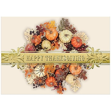 JAM Paper® Blank Thanksgiving Card Set, Thanksgiving Colourful Wreath, 25/Pack (526M0883WB)