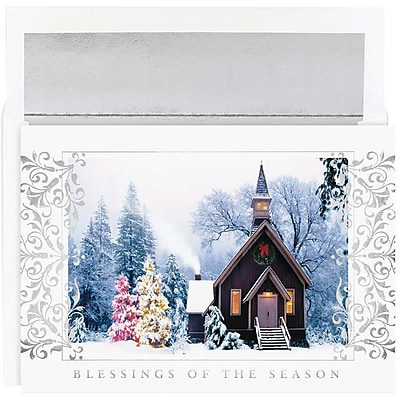 JAM Paper® Christmas Holiday Cards Set, Church Scene, 16/pack (526M0912MB)