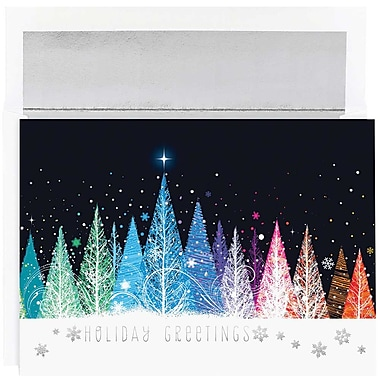 JAM Paper® Christmas Holiday Cards Set, Colorful Trees Holiday, 16/Pack (526M1010MBg)