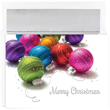 JAM Paper® Christmas Holiday Cards Set, Vivid Ornaments, 16/Pack (526M1015MBg)