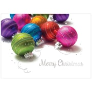 JAM Paper® Blank Christmas Holiday Cards Set, Colored Ornaments, 25/pack (526M1015WB)