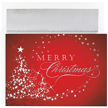JAM Paper® Christmas Holiday Cards Set, Merry Christmas Sparkles, 16/Pack (526M1025MBg)