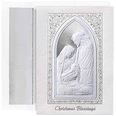 JAM Paper® Christmas Holiday Cards Set, Blessings Window, 16/Pack (526M1046MB)