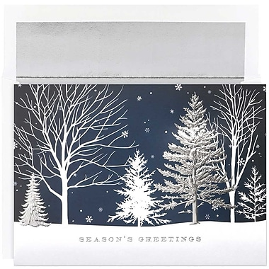JAM Paper® Christmas Holiday Cards Set, Christmas Treeline Holiday,16/Pack (526M1049MBg)