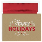 JAM Paper® Christmas Holiday Cards Set, Happy Holidays Kraft, 16/Pack (526M1055MB)