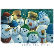 JAM Paper® Blank Christmas Holiday Cards Set, From All of Use Snowmen, 25/Pack (526X5851B)