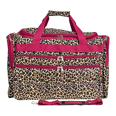 World Traveler Leopard 19'' Shoulder Duffel; Pink