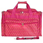 World Traveler Polka Dot 22'' Travel Duffel; Fuchsia / Lime