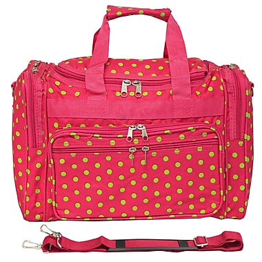 World Traveler Polka Dot 16'' Shoulder Duffel; Fuchsia / Lime