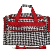 World Traveler Houndstooth 19'' Shoulder Duffel; Red