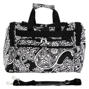 World Traveler Paisley 16'' Shoulder Duffel; Black / White