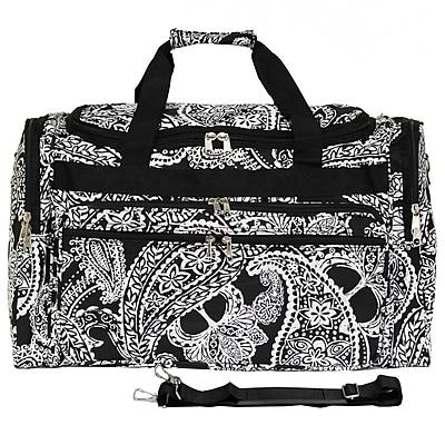 World Traveler Paisley 22'' Travel Duffel; Black / White