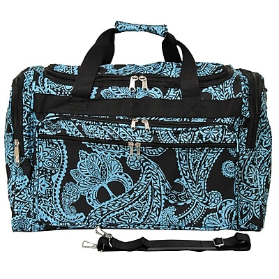 World Traveler Paisley 22'' Travel Duffel; Black / Blue