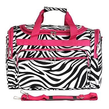 World Traveler Zebra 19'' Shoulder Duffel; Pink
