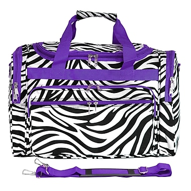 World Traveler Zebra 19'' Shoulder Duffel; Light Purple