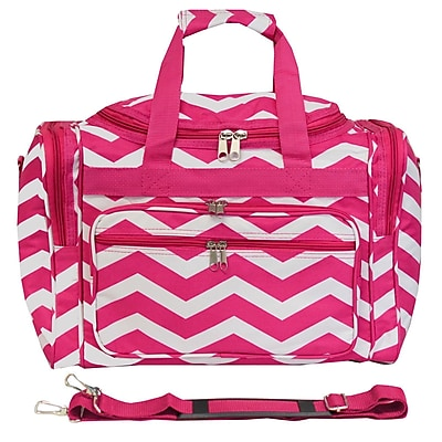 World Traveler Chevron 16'' Shoulder Duffel; Fuchsia / White