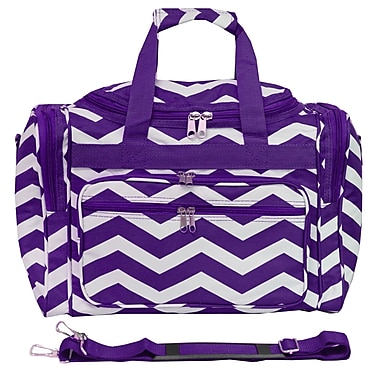 World Traveler Chevron 16'' Shoulder Duffel; Purple / White