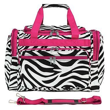 World Traveler Zebra 16'' Shoulder Duffel; Pink