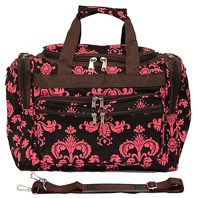 World Traveler Damask II 16'' Shoulder Duffel; Brown / Pink