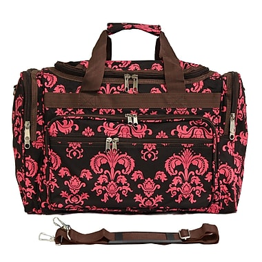 World Traveler Damask II 19'' Shoulder Duffel; Brown / Pink