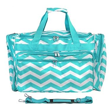 World Traveler Chevron 19'' Shoulder Duffel; Blue / White