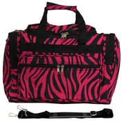 World Traveler Zebra 16'' Shoulder Duffel; Fuchsia / Black