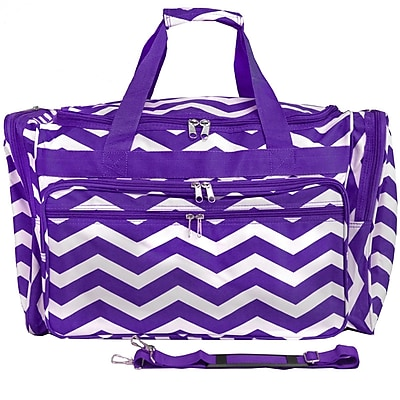 World Traveler Chevron 22'' Travel Duffel; Purple White