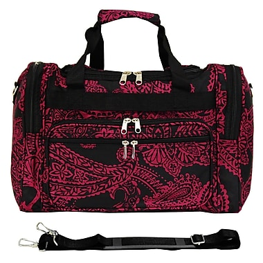 World Traveler Paisley 16'' Shoulder Duffel; Black / Pink
