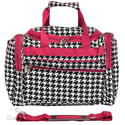 World Traveler Houndstooth 16'' Shoulder Duffel; Fuchsia