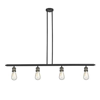 Innovations Lighting Bare Bulb 4-Light Kitchen Island Pendant; Black/Brushed Brass