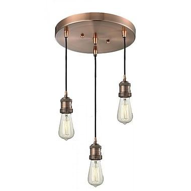 Innovations Lighting Bare Bulb 3-Light Pendant; Satin Nickel