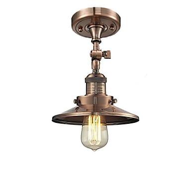 Innovations Lighting Railroad Shade 1-Light Semi Flush Mount; Antique Copper